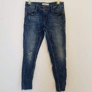 Zara Distressed Denim Jeans with Rhinestone Studs